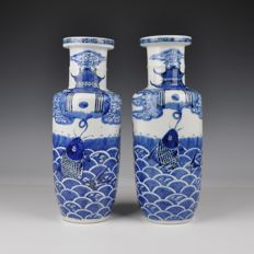 A set of blue white porcelain rouleau vases - China - 19th century