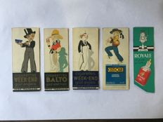 Book objects;  Lot with 11 French bookmarks of beverage and cigarette factories - 1930s