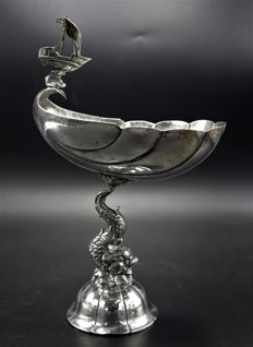 Silver nautilus cup with hammered shell, dolphins and sailing ship, Germany