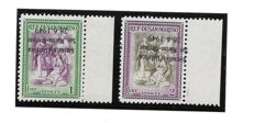 San Marino, 1949 - Philatelic Day. Two stamps with upside-down overprint (one is oblique) Sassone no.  356a and 357aa