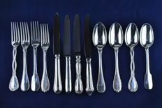 Puiforcat: a collection of various silver flatware / 4 x 3 sets of dinner knife, fork and spoon - France - 20th/21st century