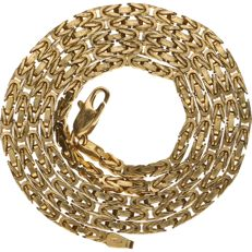18 kt Yellow gold king´s braid link necklace - Length: 64 cm