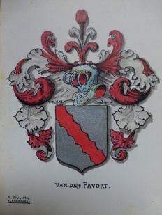 Heraldry; A. Bijl Mz. - Lot with 41 images of family coats of arms - 1930s