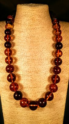 Round beads modified Baltic Amber necklace, 110 grams, length ca. 67 cm