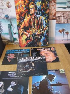 Nice Johnny Cash Lot: 5 original records(one double)+one beautyfull one off a kind Canvas off Johnny.