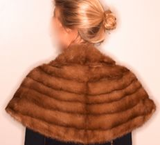 Wonderful mink stole, made by a furrier. Lined. Signed 'R'