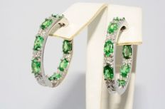 "4.22 ct, Gold in & out hoop earrings with tsavorite and diamonds ""No reserve"""