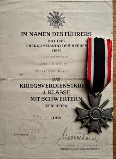 War Merit Cross 2nd Class with swords, manufacturer and very rare bestowal certificate dated 01.09.1944