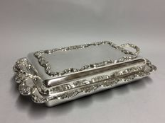 Very large, silver plated double serving tray with two handles, England, ca. 1910