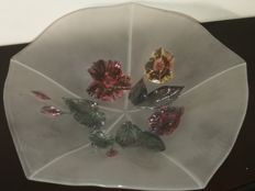 Big handmade fruit bowl with irregular sides Fabulous prominent flowers made directly on the glass