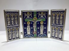 Luis Valles - triptych in fire enamel and silver - Spain - 21st century