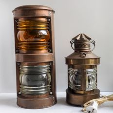 Two old copper ship's lamps