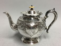 Very beautiful Victorian tea pot with floral decoration and inscirption, William Batt & Sons, Sheffield, England, ca 1899