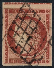 France 1849 - Cérès 1 franc crimson, signed BRUN, CALVES and BAUDOT - Yvert no. 6