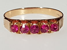 Yellow gold ring with 5 pink-red tourmalines - Ring size: 17 mm - 53