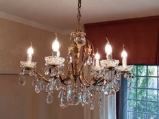 Vintage chandelier with bronze body and Bohemian crystal glasses - diameter 70 cm - Italy, 1950s