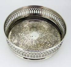 Antique Silver Plate Wine Coaster With Decorative Engravings, Circa.1930's