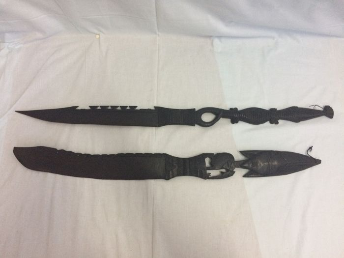 Handcrafted Pair of Hardwood Tribal Swords - Portuguese Colony