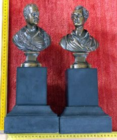 Two bronze busts of British writers/poets - 19th century