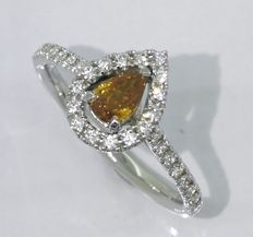 Diamond ring with IGI certificate, pear-shaped Natural Fancy deep yellow orange diamond, 0.58 ct in total # Accompanied by IGI certificate - Free Shipping #