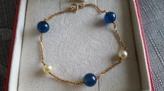 Curb chain for women in 18 kt 750 yellow gold with pearls and lapis lazuli; Length 19 cm