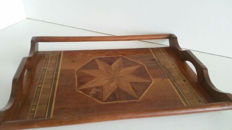 Inlaid wooden tray in art deco style