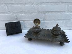 Large bronze, beautifully decorated ink set with wooden stamp box, France, circa 1900