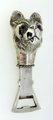 Vintage German Silver Plated Heavy Bottle Opener in Shape of French Bulldog, By Mika, Germany Circa.1930's