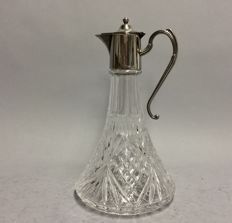 Cut crystal ship decanter for red wine with silver plated mounting, so-called. claret jug, England, ca. 1925