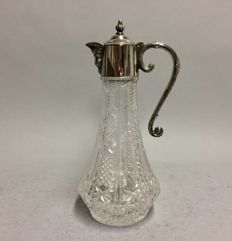Cut crystal decanter for red wine with silver plated mounting and Bacchus spout, so-called claret jug, England, ca. 1925