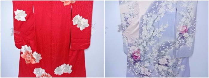Two Furisode kimono with gold metallic embroidered peony - Japan - 21st century
