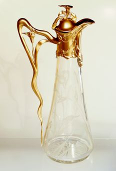Jugendstil glass carafe with glass cutting 'Callas' in a bronzed tin mounting (WMF / Orivit?)