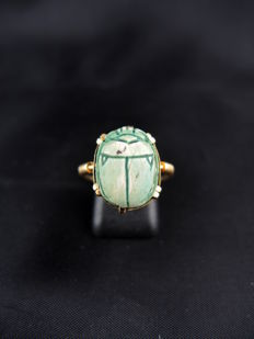 Antique ceramic  scarab beetle ring