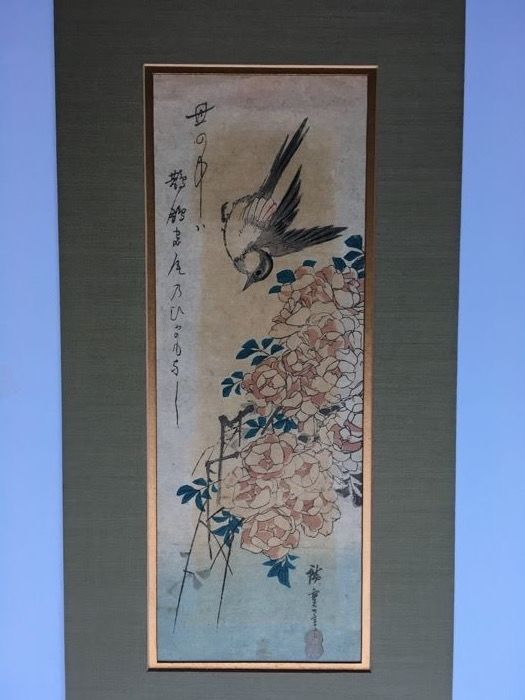 "Original woodblock by Utagawa Hiroshige (1797-1858) - ""Gray Wagtail and Rose Bush"" - Japan - ca. 1836-38"