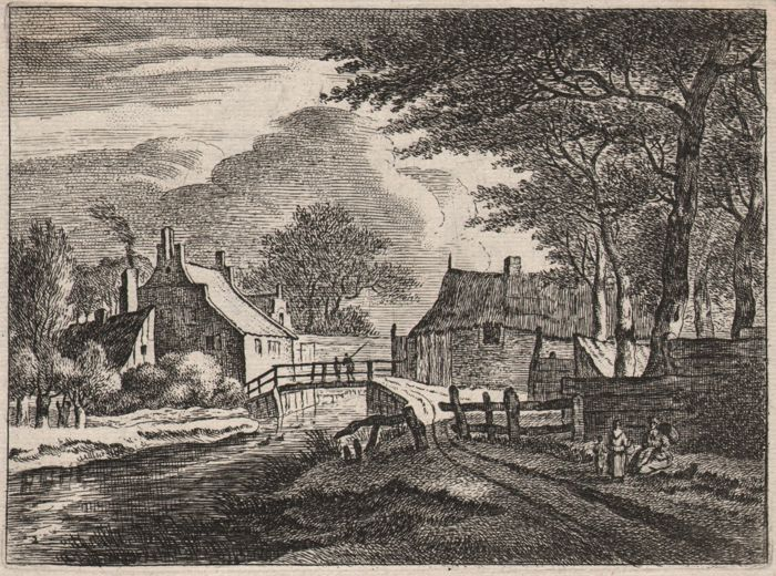 Adriaen Hendriksz. Verboom (1628-1673) - Landscape with a river flowing through a village, engraved by Jan Gronsvelt - Ca. 1690