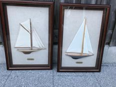 Two beautiful showcase frames with sailing boats