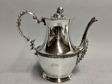 Silver plated coffeepot with decorated handle and monogram, Rogers, U.S.A. ca. 1930