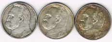 Poland - 3 x 10 Zloty 1936, 1937, 1939 - silver