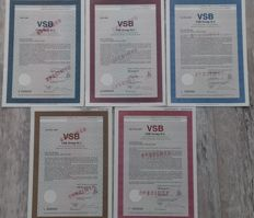 5x VSB Group - five different Bonds NLG 1000 - NLG 5000 - NLG 50.000 - NLG 50.000 and NLG 1.000.000 (1 million)