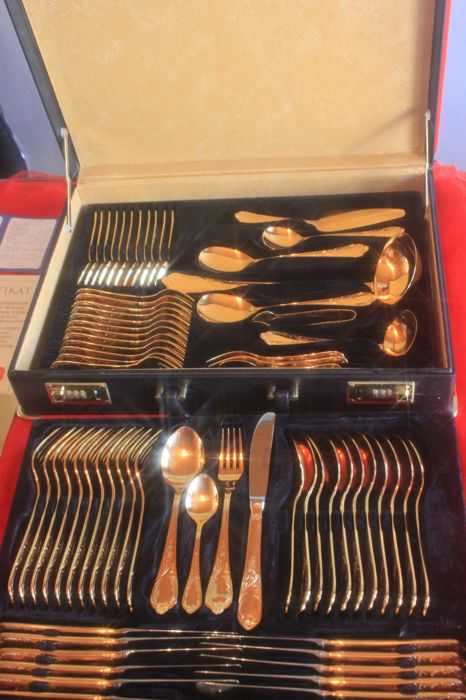 Fully gold-plated cutlery set! Nivella Solingen cutlery case & For the festive season! Fully gold-plated cutlery set! Nivella ...