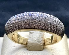 18 kt yellow gold women's band ring with brilliant cut diamonds, 0.98 ct - 6.40 g - 17 mm