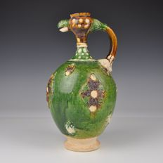 A green, glazed ceramic jug - Tang style Sancai - China - late 20th/21st century