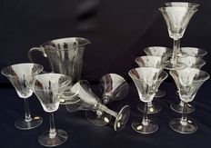 Set of 12 Bohemian crystal water glasses + pitcher.