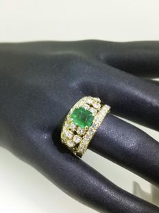 Ring: 1ct emerald and 1.60ct diamonds