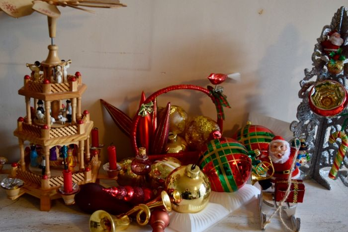 lot of old antique christmas baubles christmas decorations and christmas carousel