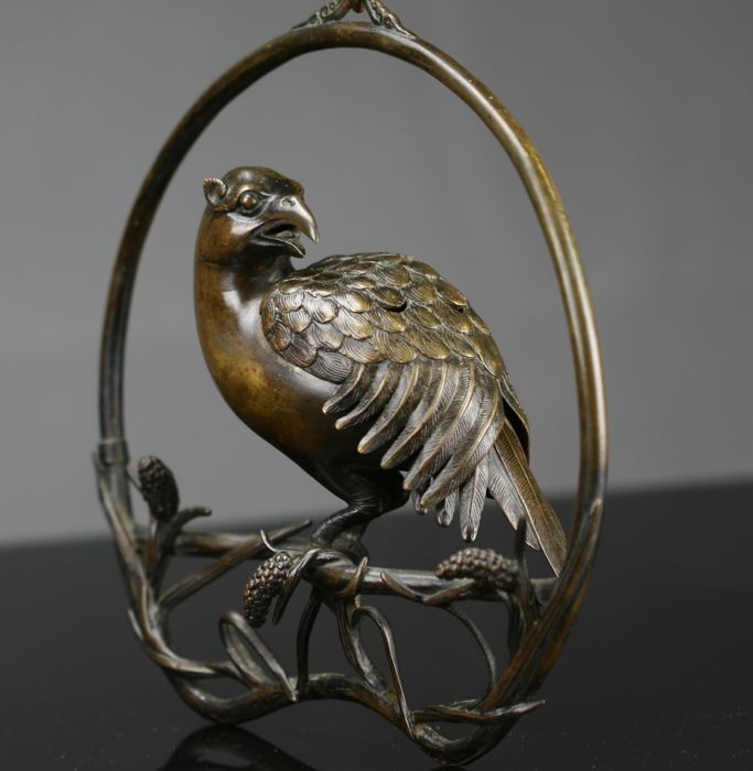 Bronze incense burner of a bird - Japan - 19th century (Meiji period)