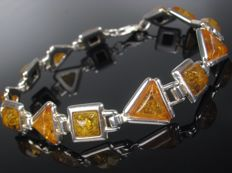 Bracelet Sterling Silver 925 – with natural Baltic amber – UV test