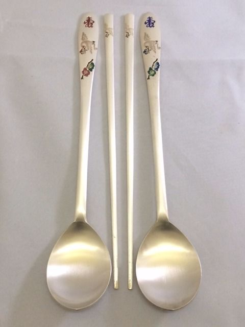 Chinese silver cutlery with enamel inlay