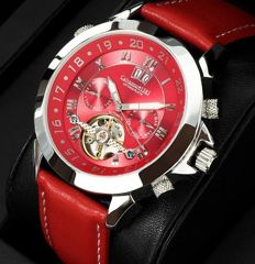 Calvaneo 1583 Astonia Platinum Deep Red - Men's automatic wristwatch - 2017 collection - New