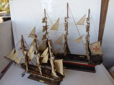 A large wooden sailing boat, Spanish vessel and a Frigate - Spain - circa 1975